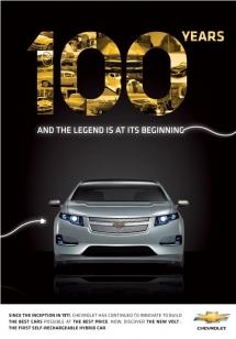 Affiche pour le centenaire de Chevrolet récompensée au concours Young Creative Chevrolet